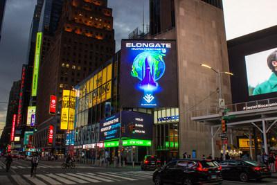 El emblema ELONGATE, según como se lo ve en Nueva York. Nacida en el espacio de las criptomonedas, la comunidad Elongate, que está en constante crecimiento, se ha unido para apoyar el movimiento benéfico. (PRNewsfoto/ELONGATE)