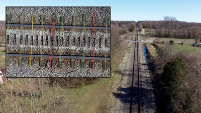Drone survey of a railyard showing the location of rail gaps (blue circles) and the condition of each crosstie (good = green, bad = yellow or failed = red).