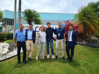 From left to right: Efraín Rodriguez – CEO, Copan Industries; Ernesto Rodriguez, Consultant, Copan Group; Stefania Triva – President and CEO, Copan Group; Marco Rovetta – Sr. Technical Services Manager Copan Industries; Agustin Oros – Production Director, Copan Industries; Giorgio Triva – Strategic Project Manager, Copan Group.