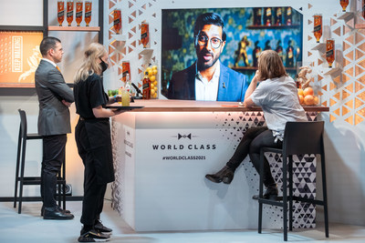 Judges L-R Ago Perrone and Hannah Lanfear listen to a presentation for the Johnnie Walker Hidden Highball Challenge at the World Class Bartender of the Year Global Finals 2021